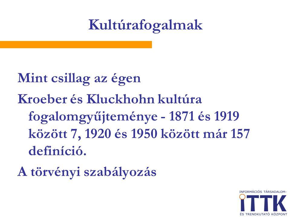 Kultúrafogalmak Mint csillag az égen Kroeber és Kluckhohn kultúra fogalomgyűjteménye - 1871 és 1919 között 7, 1920 és 1950 között már 157 definíció. A