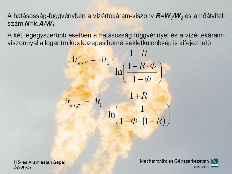 A hatásosság-függvényben a vízértékáram-viszony R=W 1 /W 2 és a hőátviteli szám N=k.A/W 1. A két legegyszerűbb esetben a hatásosság függvénnyel és a v