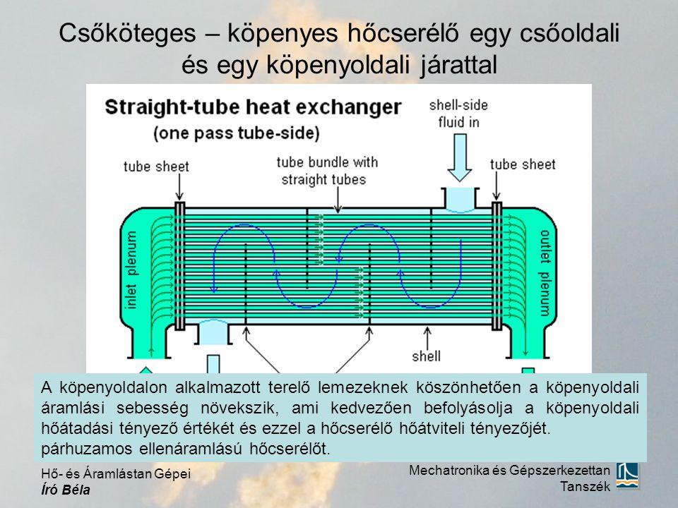 Csőköteges – köpenyes hőcserélő egy csőoldali és egy köpenyoldali járattal Mechatronika és Gépszerkezettan Tanszék Hő- és Áramlástan Gépei Író Béla Ez a hőcserélő úgy kezelhető, mintha 5 db keresztáramú hőcserélő lenne globális ellenáramba kapcsolva.