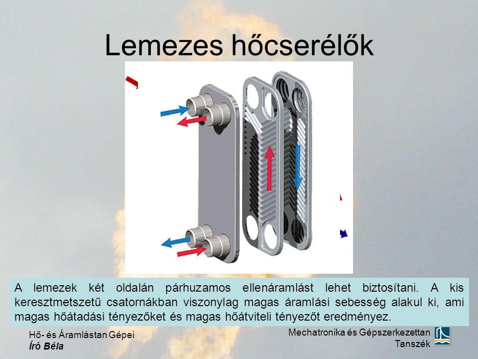 Lemezes hőcserélők Mechatronika és Gépszerkezettan Tanszék Hő- és Áramlástan Gépei Író Béla A lemezek két oldalán párhuzamos ellenáramlást lehet biztosítani.