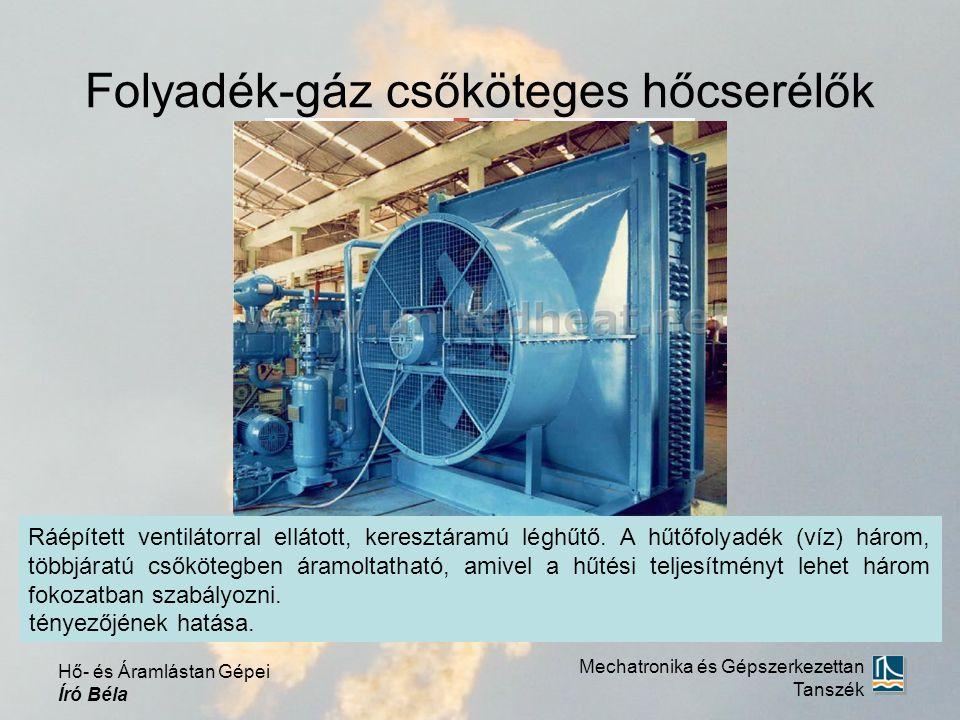 Folyadék-gáz csőköteges hőcserélők Mechatronika és Gépszerkezettan Tanszék Hő- és Áramlástan Gépei Író Béla Ráépített ventilátorral ellátott, keresztáramú léghűtő.