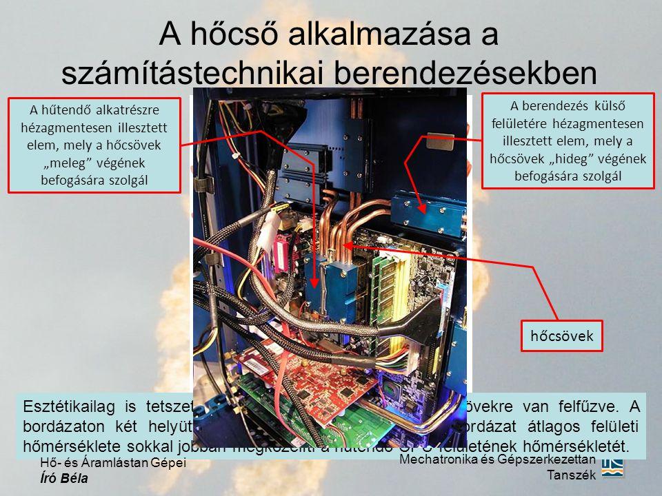 """A hőcső alkalmazása a számítástechnikai berendezésekben Mechatronika és Gépszerkezettan Tanszék Hő- és Áramlástan Gépei Író Béla A hűtendő alkatrészre hézagmentesen illesztett elem, mely a hőcsövek """"meleg végének befogására szolgál A berendezés külső felületére hézagmentesen illesztett elem, mely a hőcsövek """"hideg végének befogására szolgál hőcsövek"""