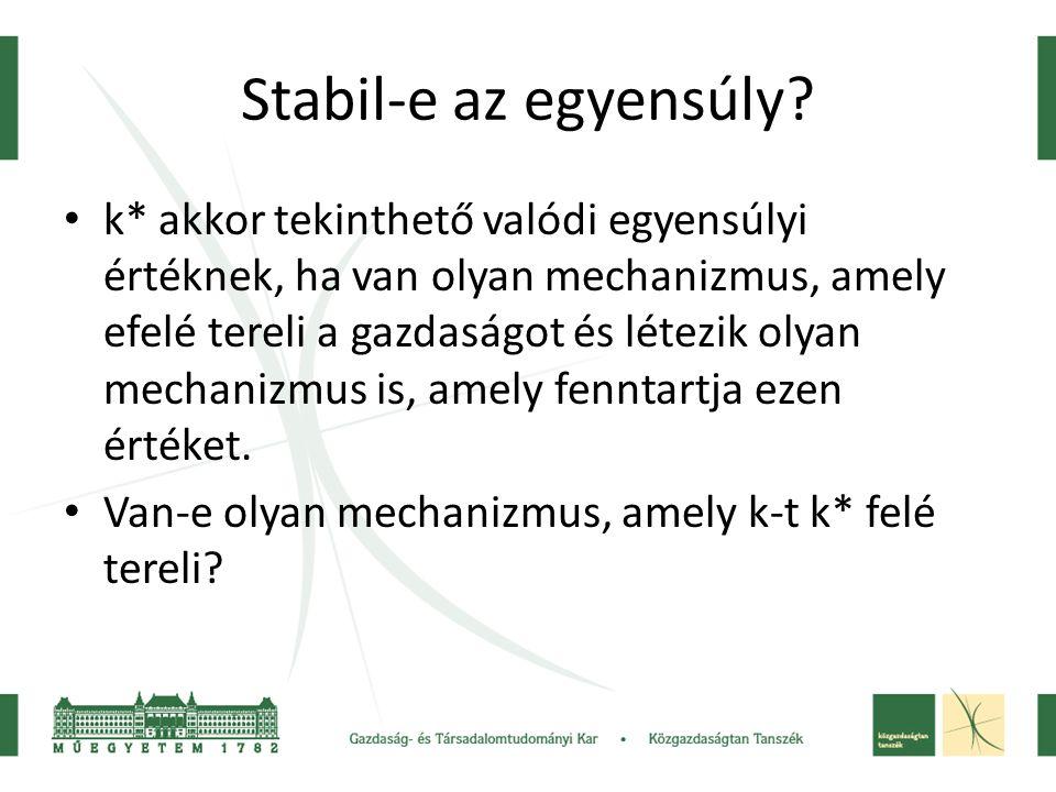 Stabil-e az egyensúly? k* akkor tekinthető valódi egyensúlyi értéknek, ha van olyan mechanizmus, amely efelé tereli a gazdaságot és létezik olyan mech