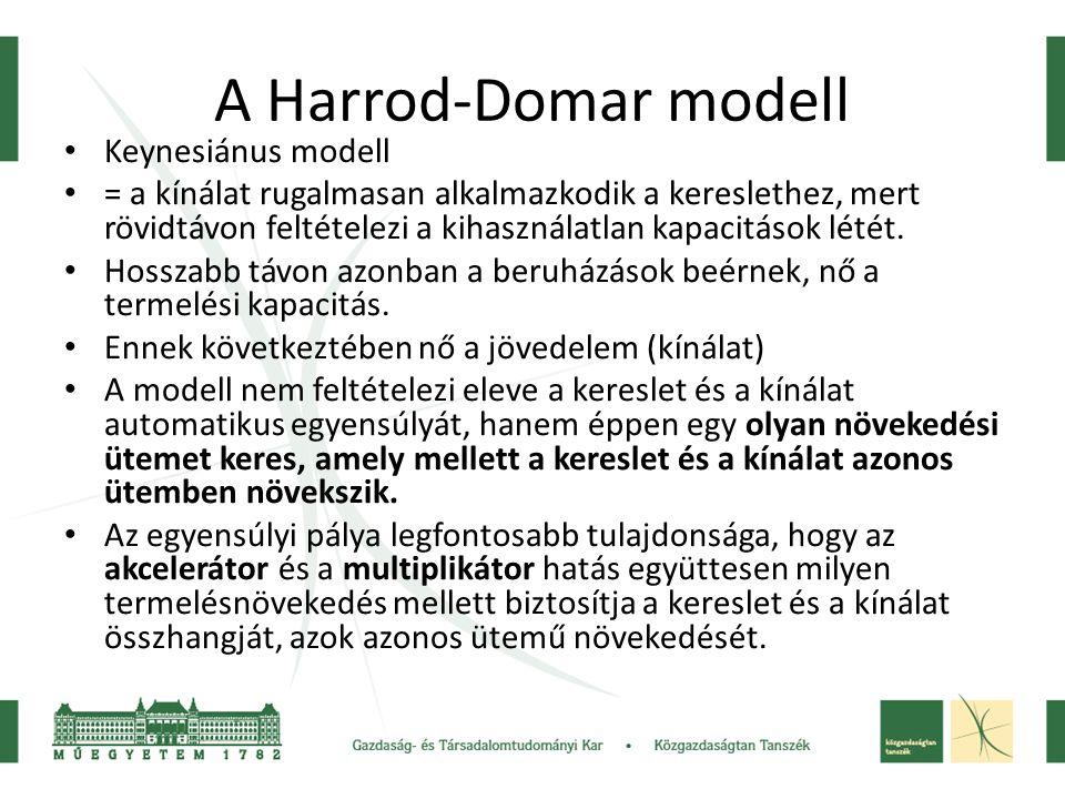 A Harrod-Domar modell Keynesiánus modell = a kínálat rugalmasan alkalmazkodik a kereslethez, mert rövidtávon feltételezi a kihasználatlan kapacitások