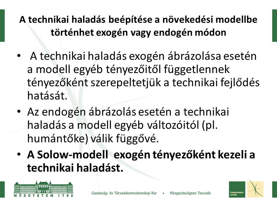 A technikai haladás beépítése a növekedési modellbe történhet exogén vagy endogén módon A technikai haladás exogén ábrázolása esetén a modell egyéb té