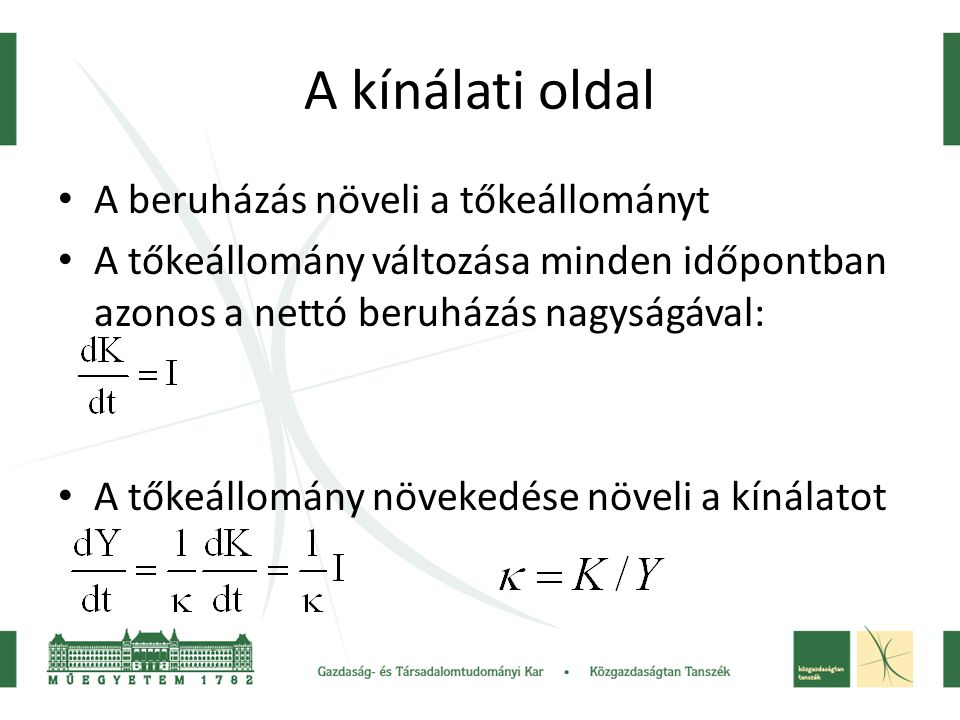A K/Y változása a termelési függvény mentén y k
