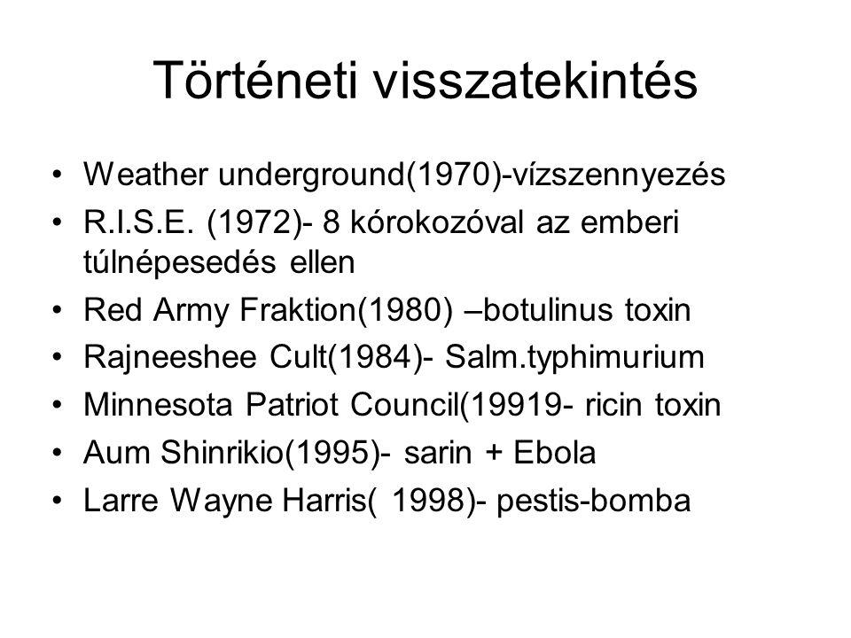 Történeti visszatekintés Weather underground(1970)-vízszennyezés R.I.S.E. (1972)- 8 kórokozóval az emberi túlnépesedés ellen Red Army Fraktion(1980) –