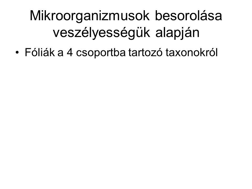 Mikroorganizmusok besorolása veszélyességük alapján Fóliák a 4 csoportba tartozó taxonokról