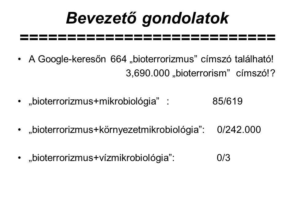 """Bevezető gondolatok =========================== A Google-keresőn 664 """"bioterrorizmus"""" címszó található! 3,690.000 """"bioterrorism"""" címszó!? """"bioterroriz"""