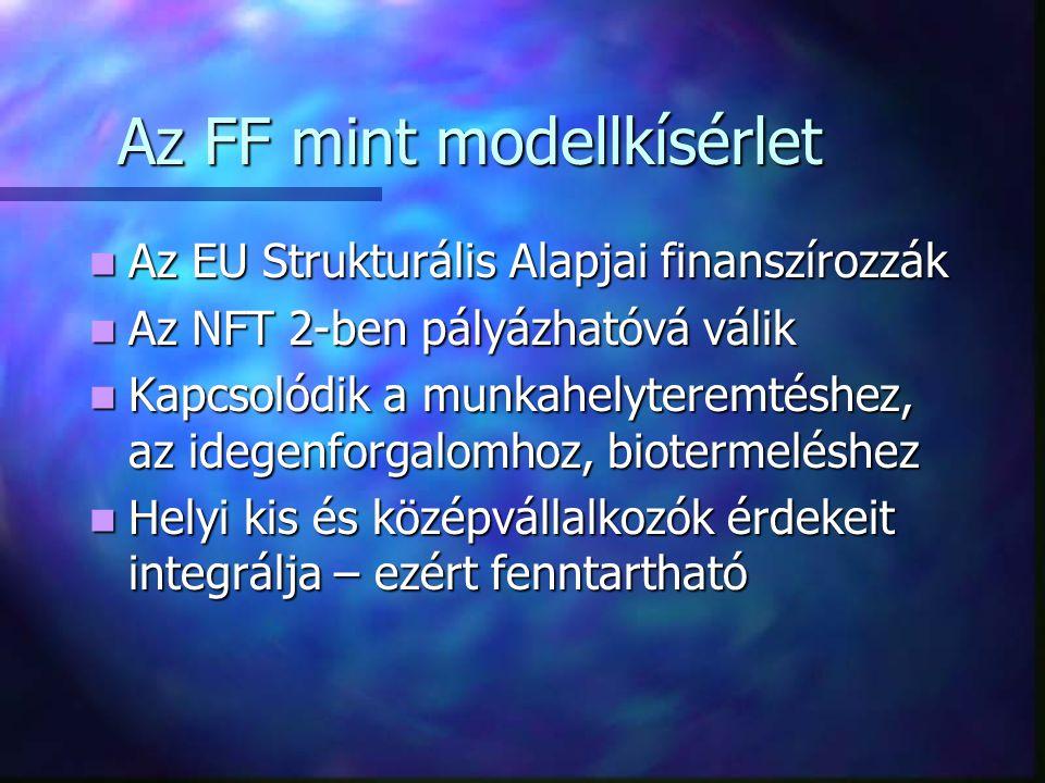 Az FF mint modellkísérlet Az EU Strukturális Alapjai finanszírozzák Az EU Strukturális Alapjai finanszírozzák Az NFT 2-ben pályázhatóvá válik Az NFT 2