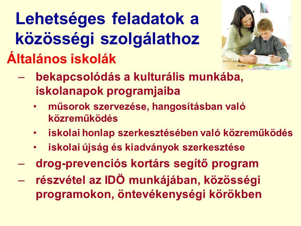 Lehetséges feladatok a közösségi szolgálathoz Általános iskolák –bekapcsolódás a kulturális munkába, iskolanapok programjaiba műsorok szervezése, hang
