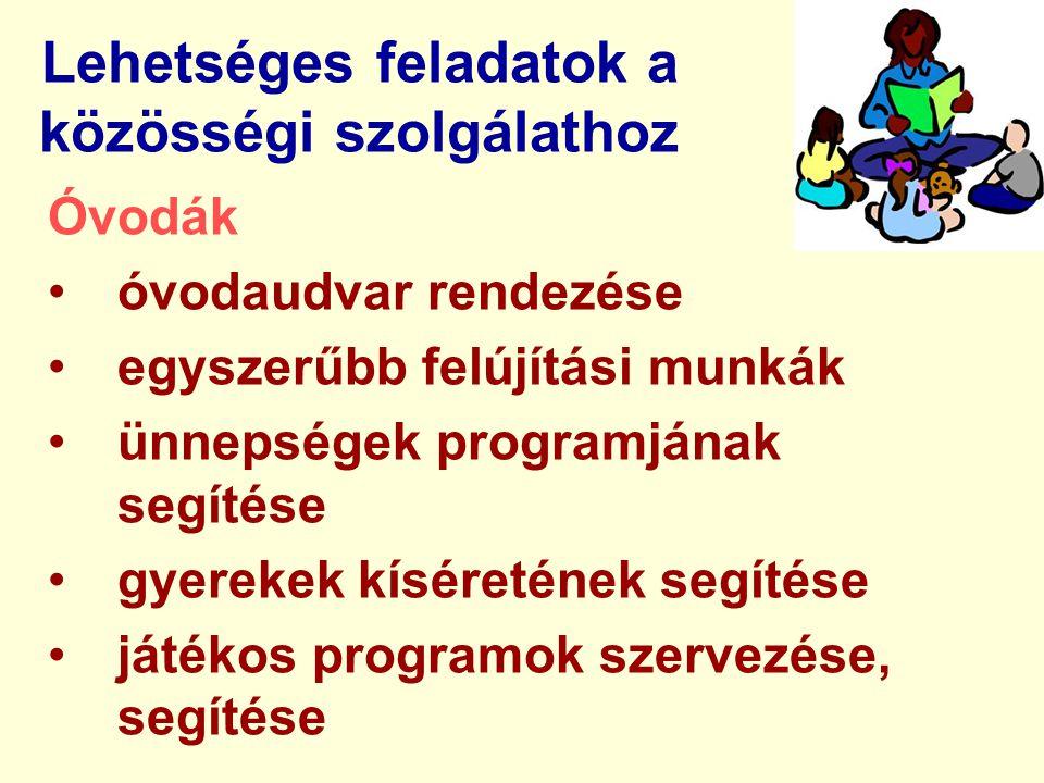 Lehetséges feladatok a közösségi szolgálathoz Óvodák óvodaudvar rendezése egyszerűbb felújítási munkák ünnepségek programjának segítése gyerekek kíséretének segítése játékos programok szervezése, segítése