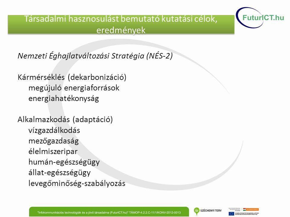 Társadalmi hasznosulást bemutató kutatási célok, eredmények Nemzeti Éghajlatváltozási Stratégia (NÉS-2) Kármérséklés (dekarbonizáció) megújuló energiaforrások energiahatékonyság Alkalmazkodás (adaptáció) vízgazdálkodás mezőgazdaság élelmiszeripar humán-egészségügy állat-egészségügy levegőminőség-szabályozás