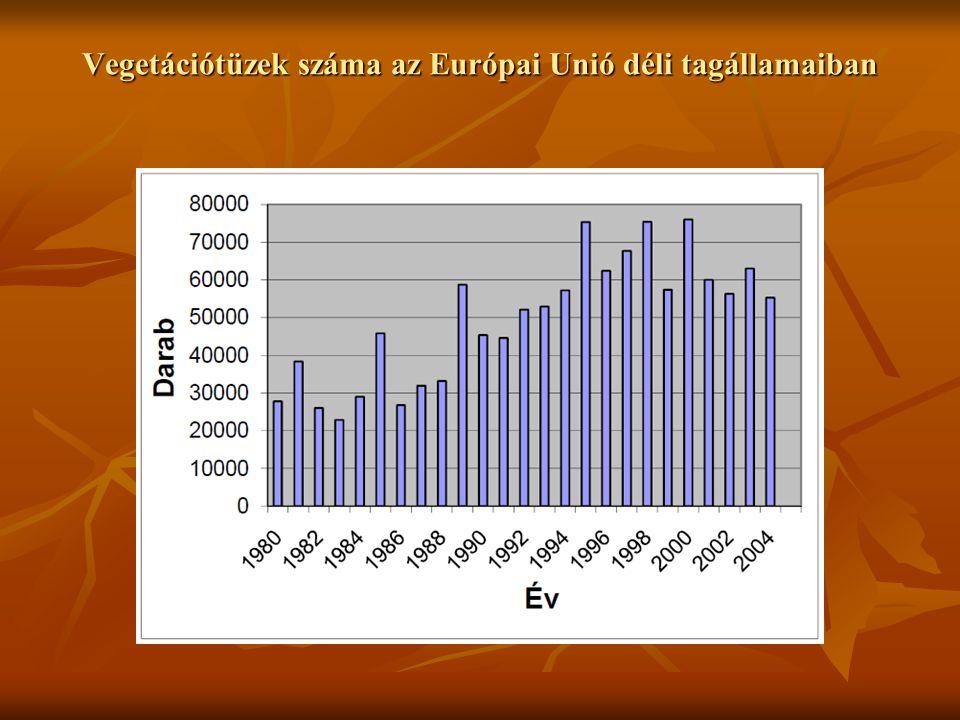 Vegetációtüzek száma az Európai Unió déli tagállamaiban