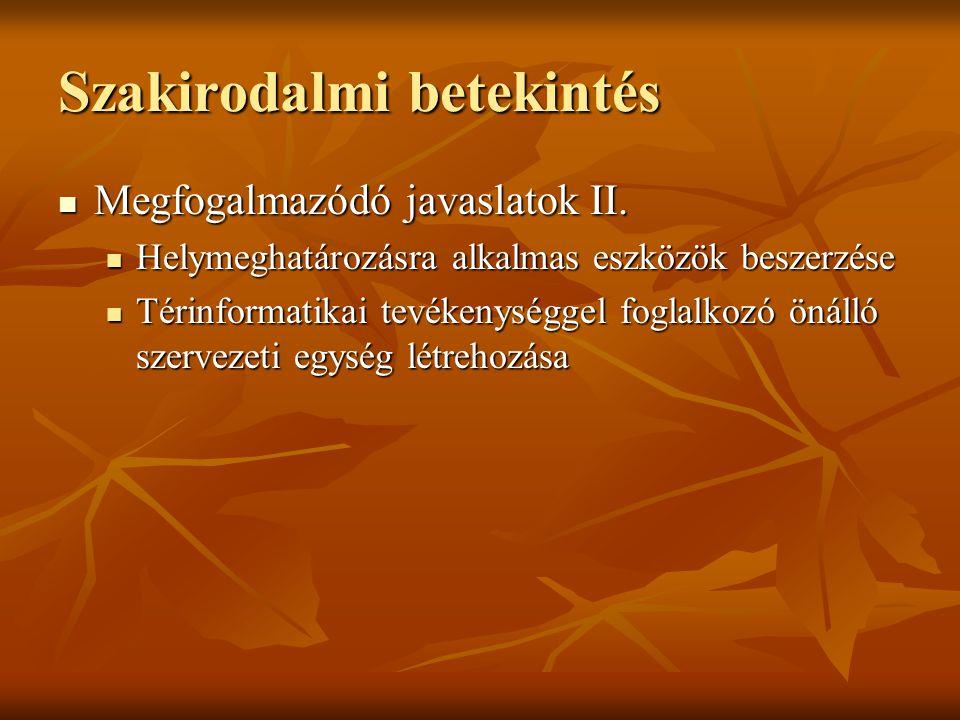 Szakirodalmi betekintés Megfogalmazódó javaslatok II.