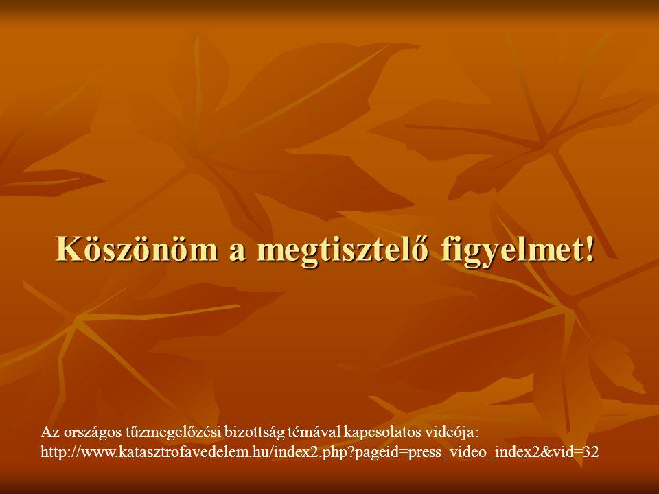 Köszönöm a megtisztelő figyelmet! Az országos tűzmegelőzési bizottság témával kapcsolatos videója: http://www.katasztrofavedelem.hu/index2.php?pageid=
