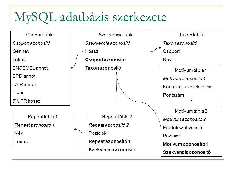 MySQL adatbázis szerkezete Csoport tábla Csoport azonosító Génnév Leírás ENSEMBL annot.