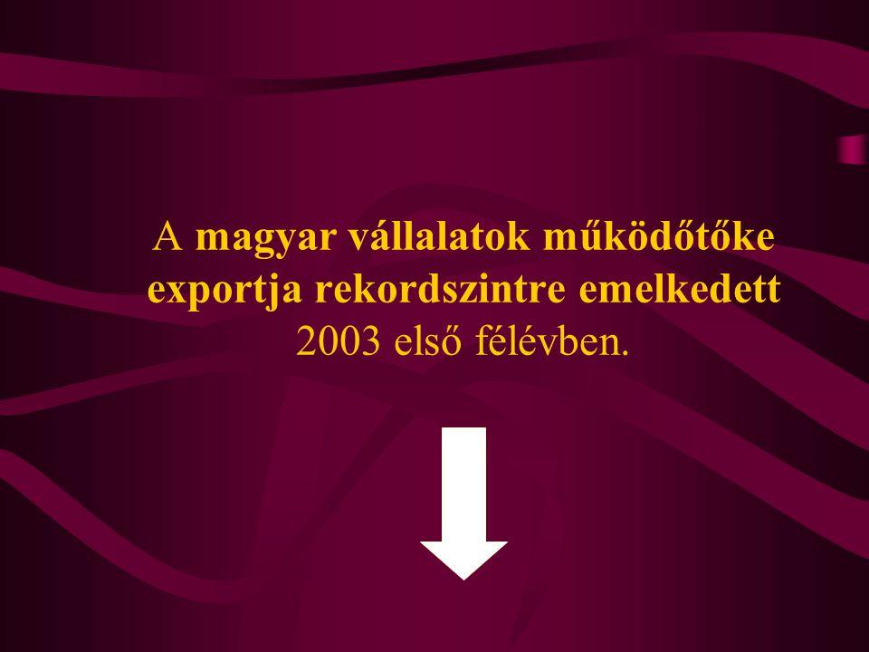 A magyar vállalatok működőtőke exportja rekordszintre emelkedett 2003 első félévben.