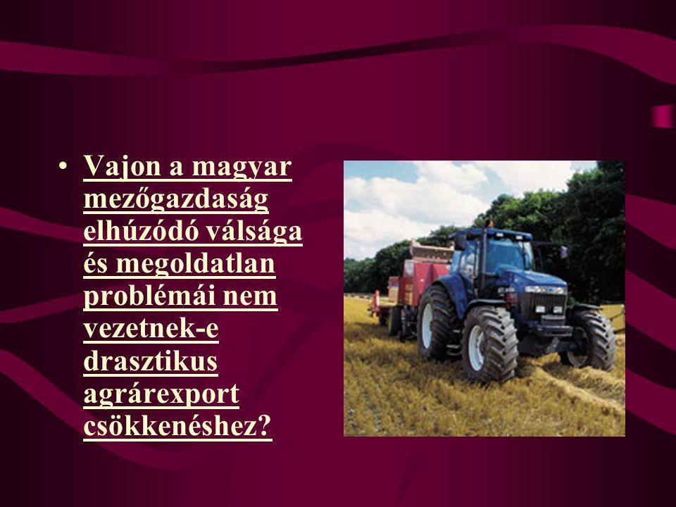 Vajon a magyar mezőgazdaság elhúzódó válsága és megoldatlan problémái nem vezetnek-e drasztikus agrárexport csökkenéshez?