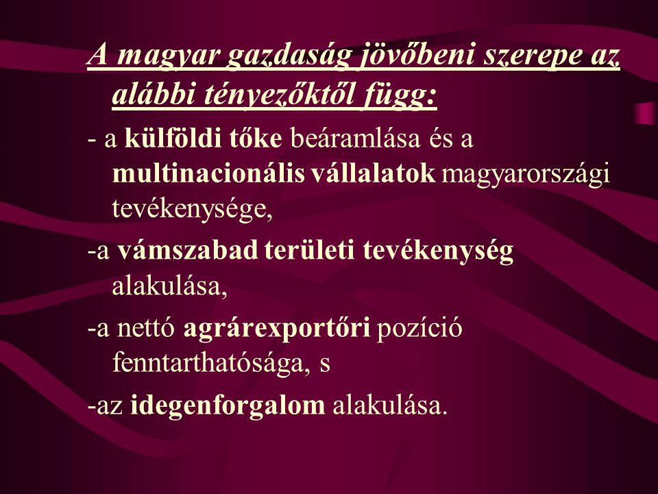 A magyar gazdaság jövőbeni szerepe az alábbi tényezőktől függ: - a külföldi tőke beáramlása és a multinacionális vállalatok magyarországi tevékenysége