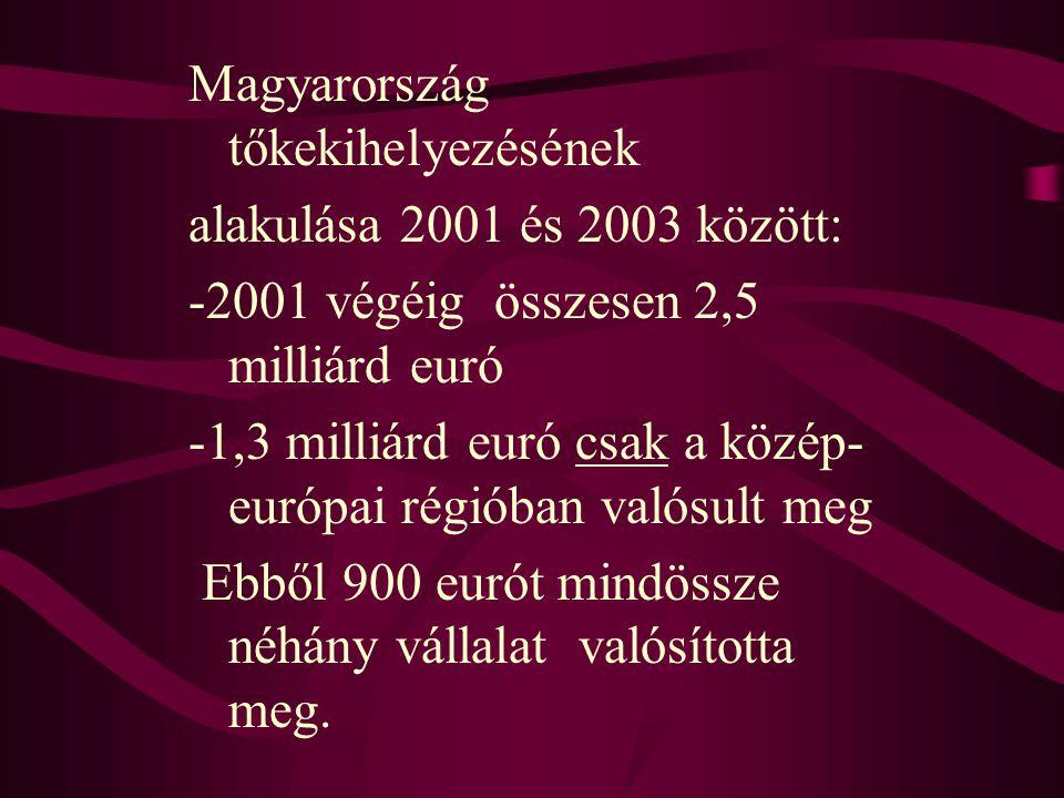Magyarország tőkekihelyezésének alakulása 2001 és 2003 között: -2001 végéig összesen 2,5 milliárd euró -1,3 milliárd euró csak a közép- európai régiób