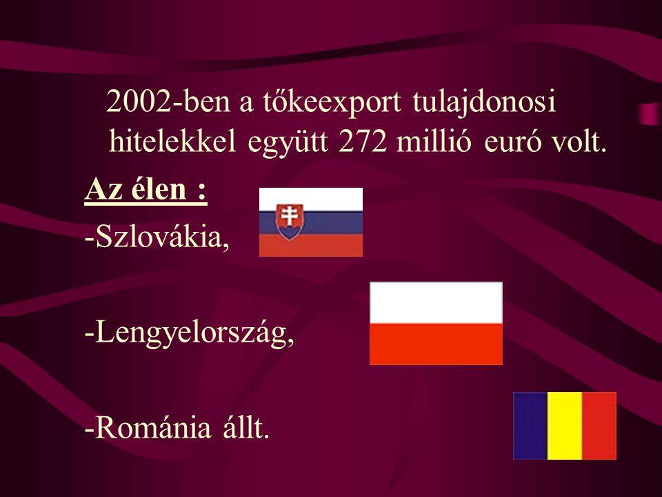 2002-ben a tőkeexport tulajdonosi hitelekkel együtt 272 millió euró volt. Az élen : -Szlovákia, -Lengyelország, -Románia állt.