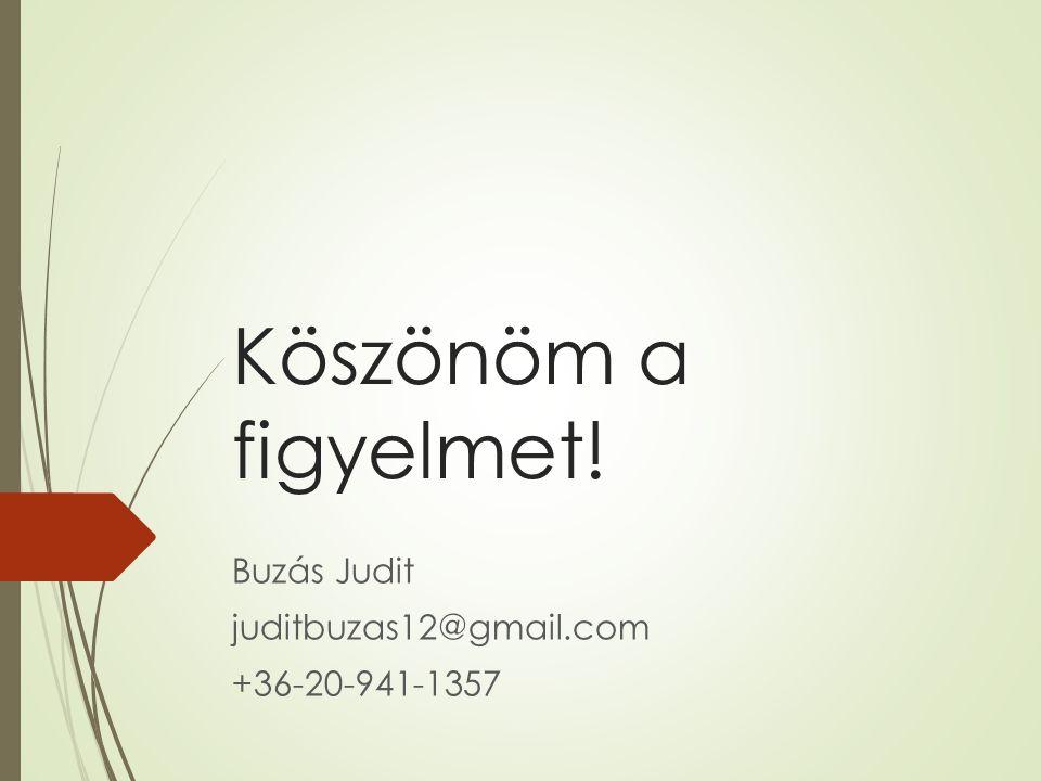 Köszönöm a figyelmet! Buzás Judit juditbuzas12@gmail.com +36-20-941-1357