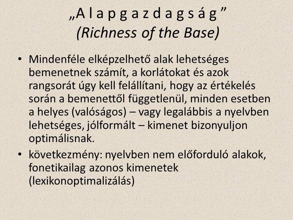 """""""A l a p g a z d a g s á g (Richness of the Base) Mindenféle elképzelhető alak lehetséges bemenetnek számít, a korlátokat és azok rangsorát úgy kell felállítani, hogy az értékelés során a bemenettől függetlenül, minden esetben a helyes (valóságos) – vagy legalábbis a nyelvben lehetséges, jólformált – kimenet bizonyuljon optimálisnak."""