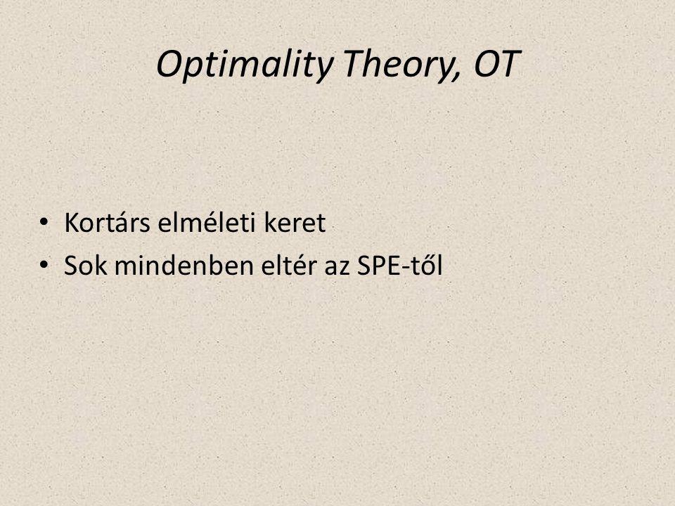 Optimality Theory, OT Kortárs elméleti keret Sok mindenben eltér az SPE-től