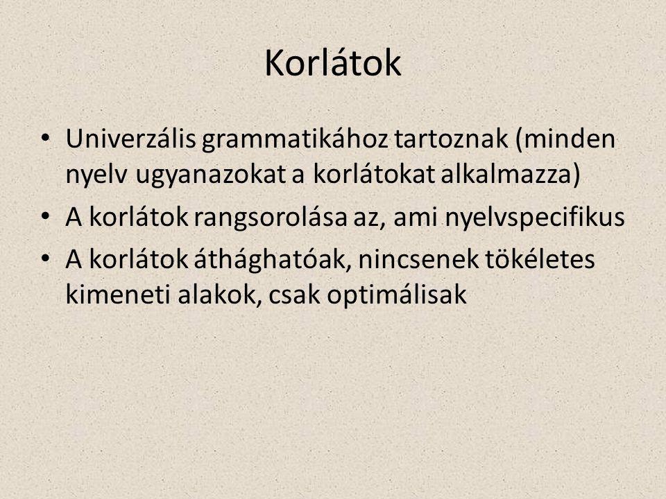 Korlátok Univerzális grammatikához tartoznak (minden nyelv ugyanazokat a korlátokat alkalmazza) A korlátok rangsorolása az, ami nyelvspecifikus A korlátok áthághatóak, nincsenek tökéletes kimeneti alakok, csak optimálisak