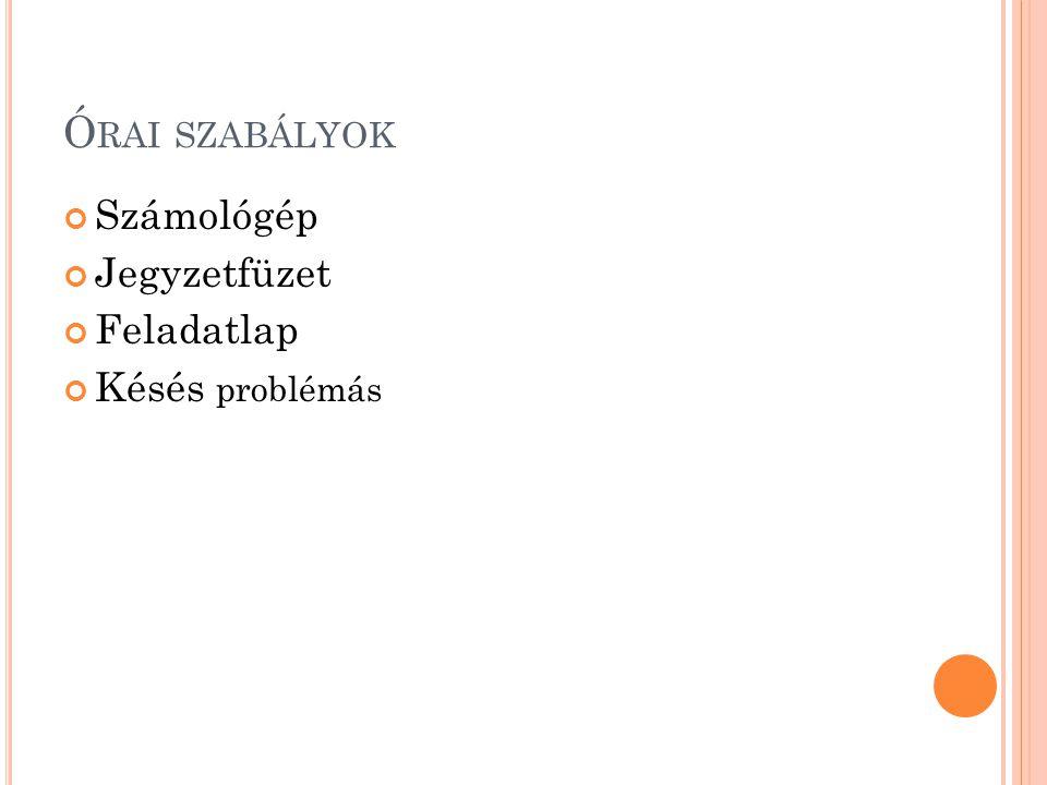 Ó RAI SZABÁLYOK Számológép Jegyzetfüzet Feladatlap Késés problémás
