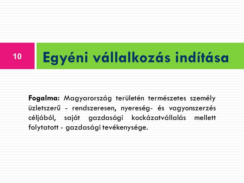 10 Egyéni vállalkozás indítása Fogalma: Magyarország területén természetes személy üzletszerű - rendszeresen, nyereség- és vagyonszerzés céljából, saj