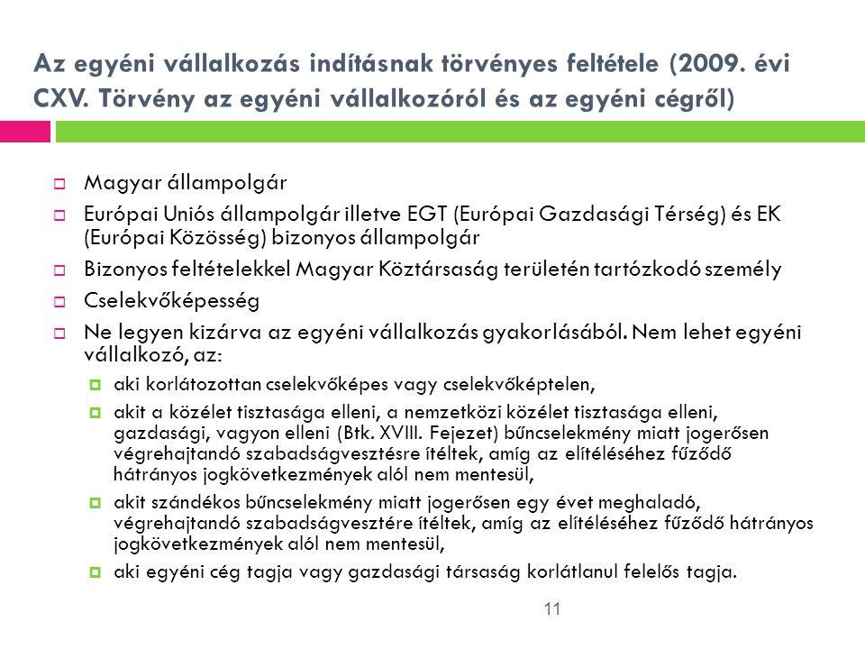 11 Az egyéni vállalkozás indításnak törvényes feltétele (2009. évi CXV. Törvény az egyéni vállalkozóról és az egyéni cégről)  Magyar állampolgár  Eu
