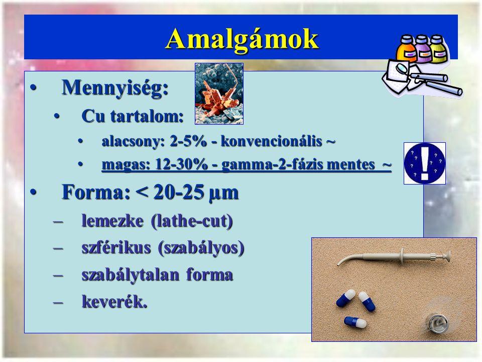 Amalgámok Mennyiség:Mennyiség: Cu tartalom:Cu tartalom: alacsony: 2-5% - konvencionális ~alacsony: 2-5% - konvencionális ~ magas: 12-30% - gamma-2-fázis mentes ~magas: 12-30% - gamma-2-fázis mentes ~ Forma: < 20-25 µmForma: < 20-25 µm –lemezke (lathe-cut) –szférikus (szabályos) –szabálytalan forma –keverék.