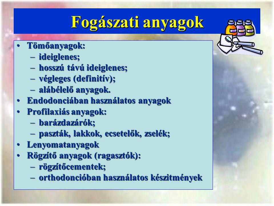 GYÖKÉRTÖMŐ ANYAGOK A felnőtt fogászatban használatos ~A felnőtt fogászatban használatos ~ HatóanyagGyári készítményGyártó Cink-oxid-eugenol Aptal Harz, Hermetic Speiko Lege Artis EpoxigyantaAH26, AH26 Plus Dentsply DeTrey Metakrilát, Polihidroxi-metilmetakrilát HydronHydron Canada PoliketonDiaketESPE Polidimetil-siloxanRoeko Seal AutomixRoeko Szalicilát és Ca(OH) 2 Apexit/SealapexVivadent/Kerr ÜvegionomercementKetac Endo/ EndionESPE/Voco