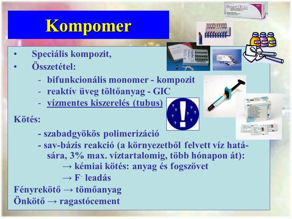 Kompomer Speciális kompozit, Összetétel: bifunkcionális monomer - kompozit reaktív üveg töltőanyag - GIC vízmentes kiszerelés (tubus) Kötés: - szabadgyökös polimerizáció - sav-bázis reakció (a környezetből felvett víz hatá- sára, 3% max.