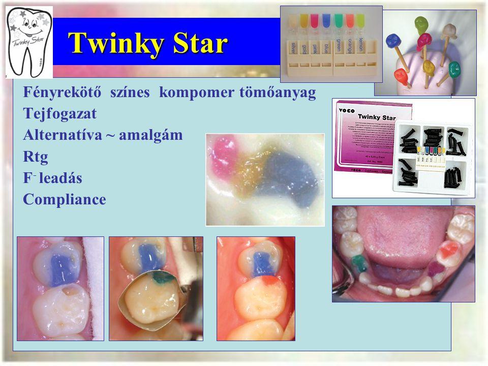 Twinky Star Fényrekötő színes kompomer tömőanyag Tejfogazat Alternatíva ~ amalgám Rtg F - leadás Compliance