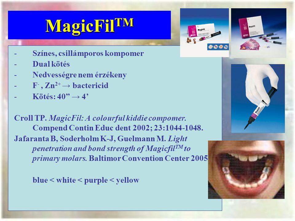MagicFil TM -Színes, csillámporos kompomer -Dual kötés -Nedvességre nem érzékeny -F -, Zn 2+ → bactericid -Kötés: 40 → 4' Croll TP.