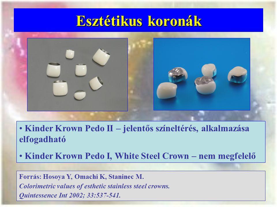Esztétikus koronák Kinder Krown Pedo II – jelentős színeltérés, alkalmazása elfogadható Kinder Krown Pedo I, White Steel Crown – nem megfelelő Forrás: Hosoya Y, Omachi K, Staninec M.