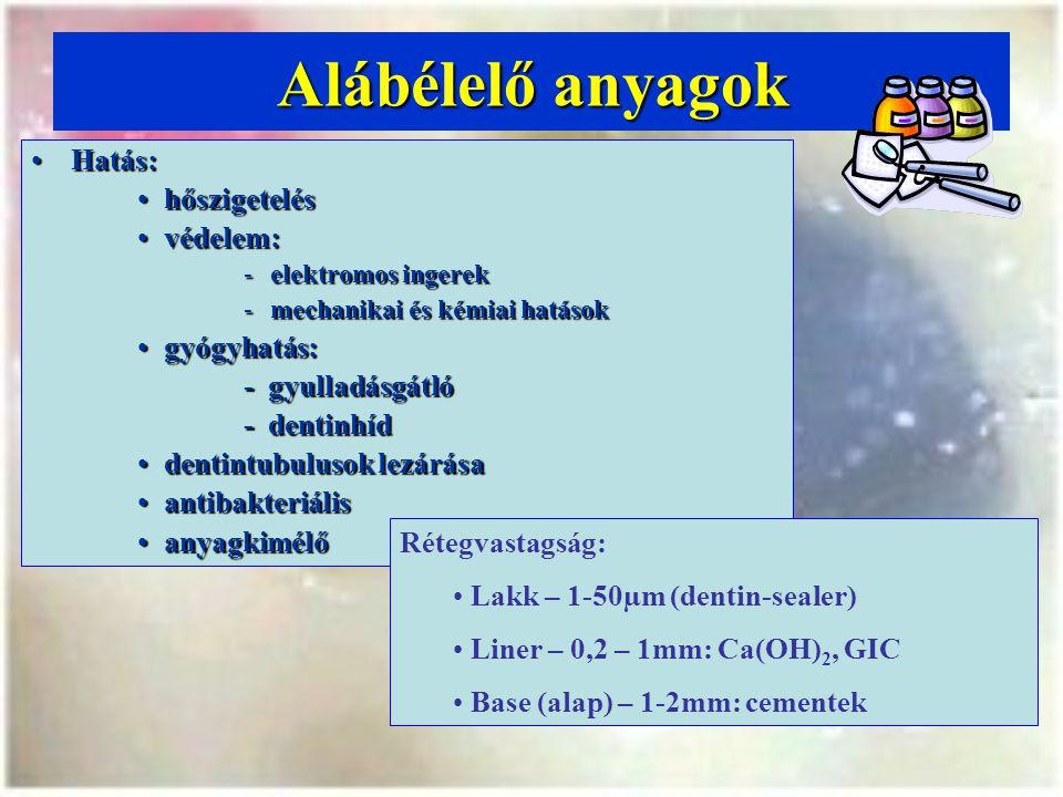 Alábélelő anyagok Hatás:Hatás: hőszigeteléshőszigetelés védelem:védelem: -elektromos ingerek -mechanikai és kémiai hatások gyógyhatás:gyógyhatás: - gyulladásgátló - dentinhíd dentintubulusok lezárásadentintubulusok lezárása antibakteriálisantibakteriális anyagkimélőanyagkimélő Rétegvastagság: Lakk – 1-50µm (dentin-sealer) Liner – 0,2 – 1mm: Ca(OH) 2, GIC Base (alap) – 1-2mm: cementek