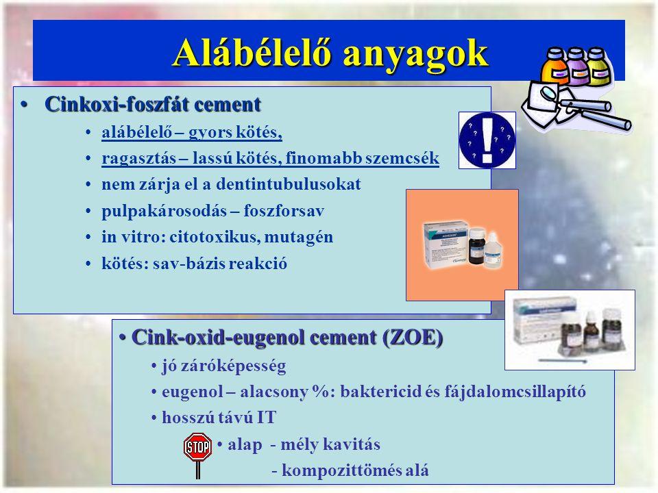 Alábélelő anyagok Cinkoxi-foszfát cementCinkoxi-foszfát cement alábélelő – gyors kötés, ragasztás – lassú kötés, finomabb szemcsék nem zárja el a dentintubulusokat pulpakárosodás – foszforsav in vitro: citotoxikus, mutagén kötés: sav-bázis reakció Cink-oxid-eugenol cement (ZOE) Cink-oxid-eugenol cement (ZOE) jó záróképesség eugenol – alacsony %: baktericid és fájdalomcsillapító hosszú távú IT alap - mély kavitás - kompozittömés alá