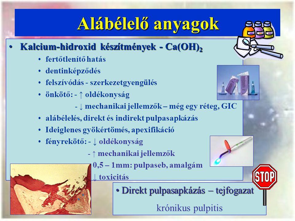 Alábélelő anyagok Kalcium-hidroxid készítmények - Ca(OH) 2Kalcium-hidroxid készítmények - Ca(OH) 2 fertőtlenítő hatás dentinképződés felszívódás - szerkezetgyengülés önkötő: - ↑ oldékonyság - ↓ mechanikai jellemzők – még egy réteg, GIC alábélelés, direkt és indirekt pulpasapkázás Ideiglenes gyökértömés, apexifikáció fényrekötő: - ↓ oldékonyság - ↑ mechanikai jellemzők - 0,5 – 1mm: pulpaseb, amalgám - ↓ toxicitás Direkt pulpasapkázás – tejfogazat Direkt pulpasapkázás – tejfogazat krónikus pulpitis