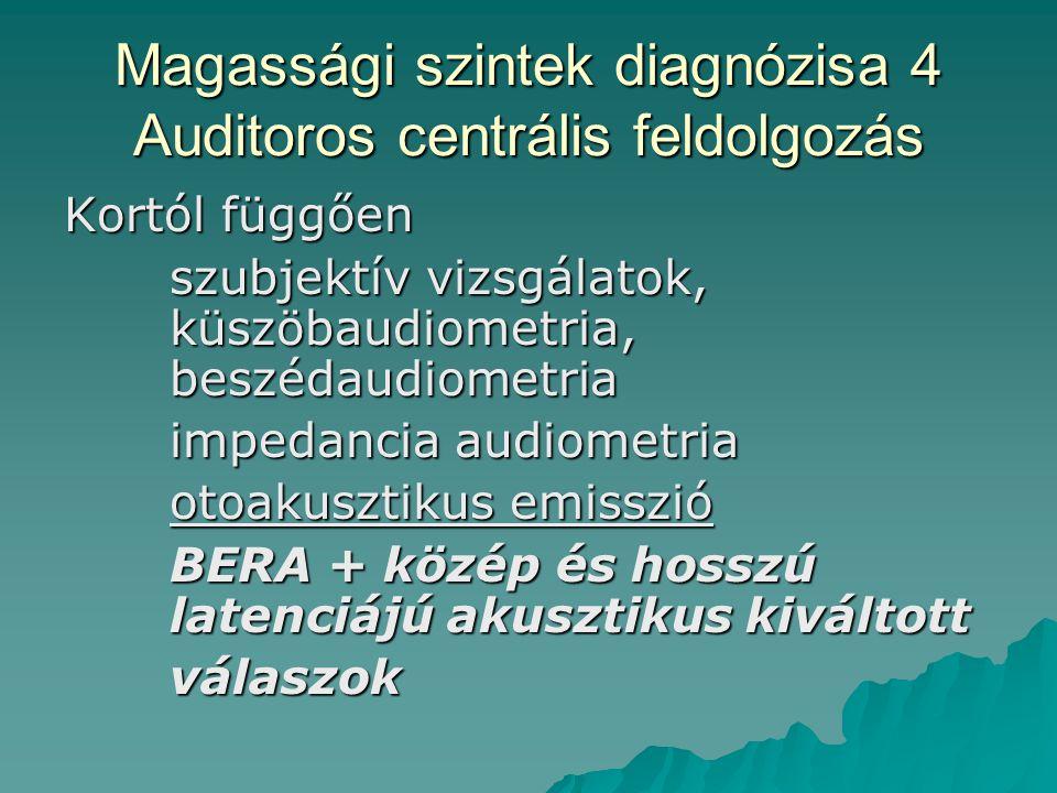 Magassági szintek diagnózisa 4 Auditoros centrális feldolgozás Kortól függően szubjektív vizsgálatok, küszöbaudiometria, beszédaudiometria impedancia