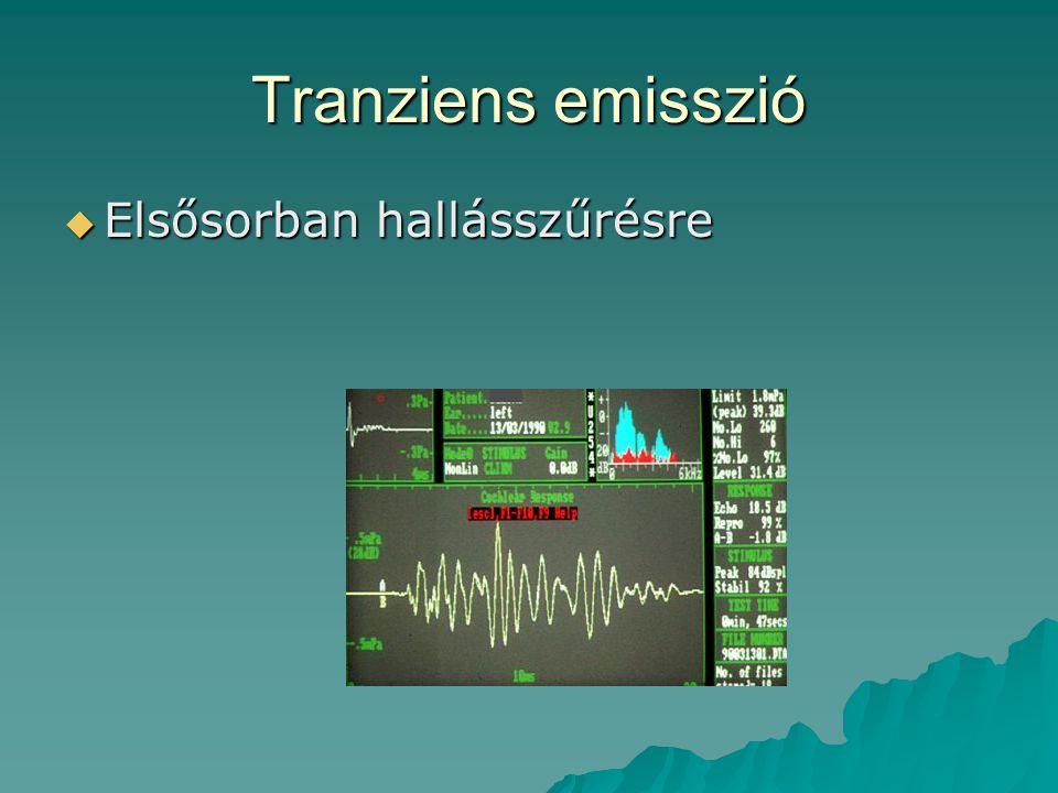 Tranziens emisszió  Elsősorban hallásszűrésre