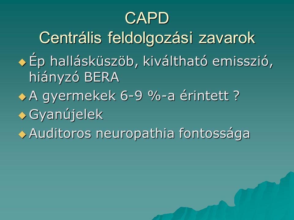 CAPD Centrális feldolgozási zavarok  Ép hallásküszöb, kiváltható emisszió, hiányzó BERA  A gyermekek 6-9 %-a érintett ?  Gyanújelek  Auditoros neu