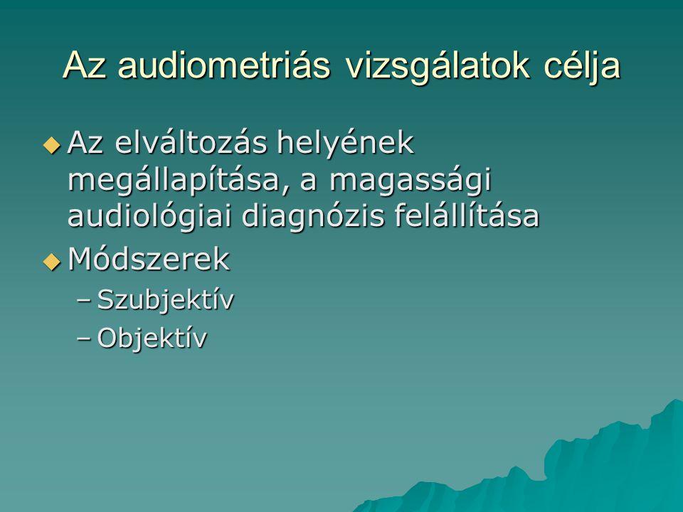 Az audiometriás vizsgálatok célja  Az elváltozás helyének megállapítása, a magassági audiológiai diagnózis felállítása  Módszerek –Szubjektív –Objek