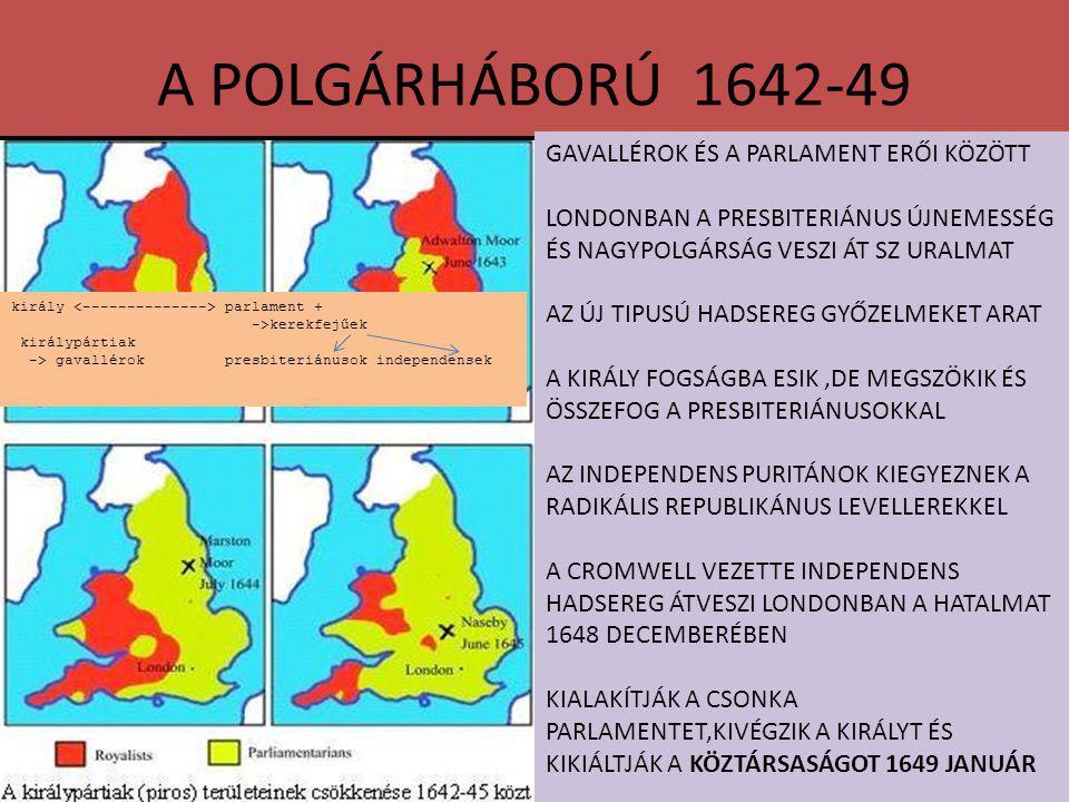 A POLGÁRHÁBORÚ 1642-49 GAVALLÉROK ÉS A PARLAMENT ERŐI KÖZÖTT LONDONBAN A PRESBITERIÁNUS ÚJNEMESSÉG ÉS NAGYPOLGÁRSÁG VESZI ÁT SZ URALMAT AZ ÚJ TIPUSÚ HADSEREG GYŐZELMEKET ARAT A KIRÁLY FOGSÁGBA ESIK,DE MEGSZÖKIK ÉS ÖSSZEFOG A PRESBITERIÁNUSOKKAL AZ INDEPENDENS PURITÁNOK KIEGYEZNEK A RADIKÁLIS REPUBLIKÁNUS LEVELLEREKKEL A CROMWELL VEZETTE INDEPENDENS HADSEREG ÁTVESZI LONDONBAN A HATALMAT 1648 DECEMBERÉBEN KIALAKÍTJÁK A CSONKA PARLAMENTET,KIVÉGZIK A KIRÁLYT ÉS KIKIÁLTJÁK A KÖZTÁRSASÁGOT 1649 JANUÁR király parlament + ->kerekfejűek királypártiak -> gavallérok presbiteriánusok independensek
