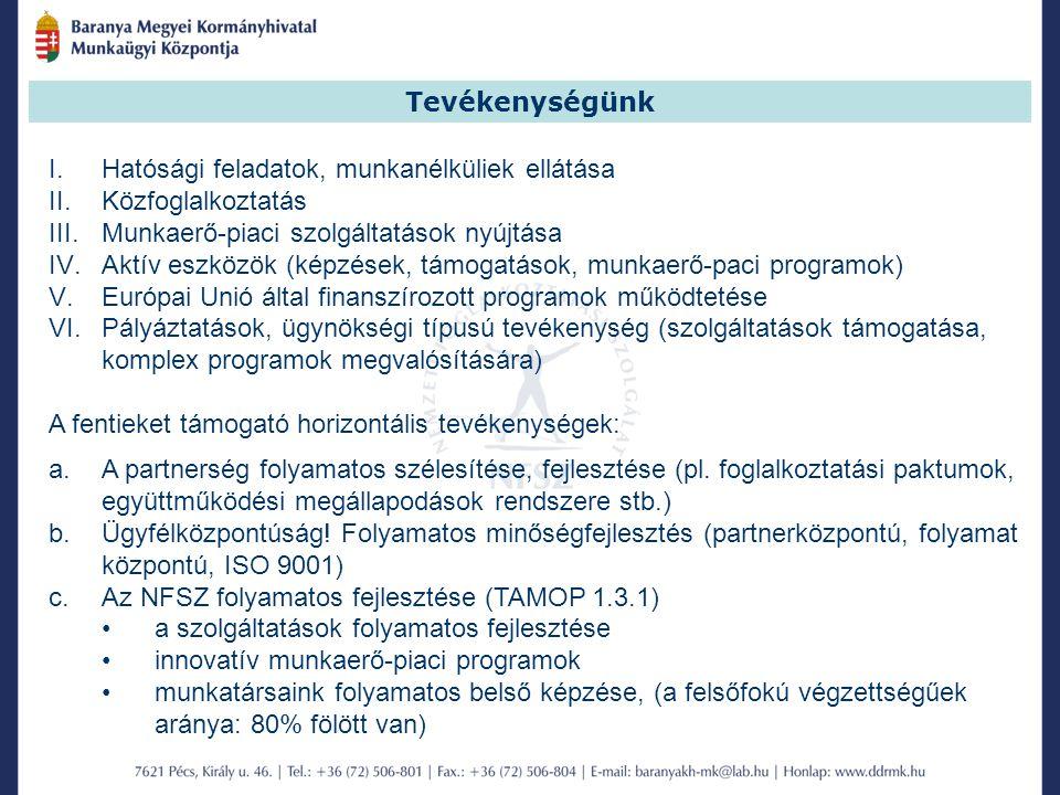 I.Hatósági feladatok, munkanélküliek ellátása II.Közfoglalkoztatás III.Munkaerő-piaci szolgáltatások nyújtása IV.Aktív eszközök (képzések, támogatások, munkaerő-paci programok) V.Európai Unió által finanszírozott programok működtetése VI.Pályáztatások, ügynökségi típusú tevékenység (szolgáltatások támogatása, komplex programok megvalósítására) A fentieket támogató horizontális tevékenységek: a.A partnerség folyamatos szélesítése, fejlesztése (pl.