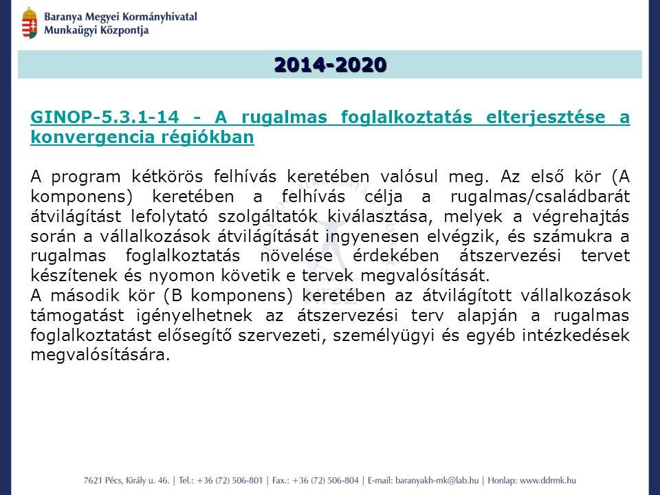 2014-2020 GINOP-5.3.1-14 - A rugalmas foglalkoztatás elterjesztése a konvergencia régiókban A program kétkörös felhívás keretében valósul meg.