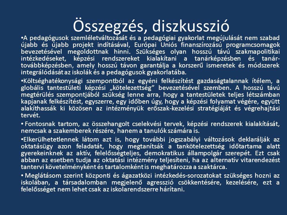 Összegzés, diszkusszió A pedagógusok szemléletváltozását és a pedagógiai gyakorlat megújulását nem szabad újabb és újabb projekt indításával, Európai